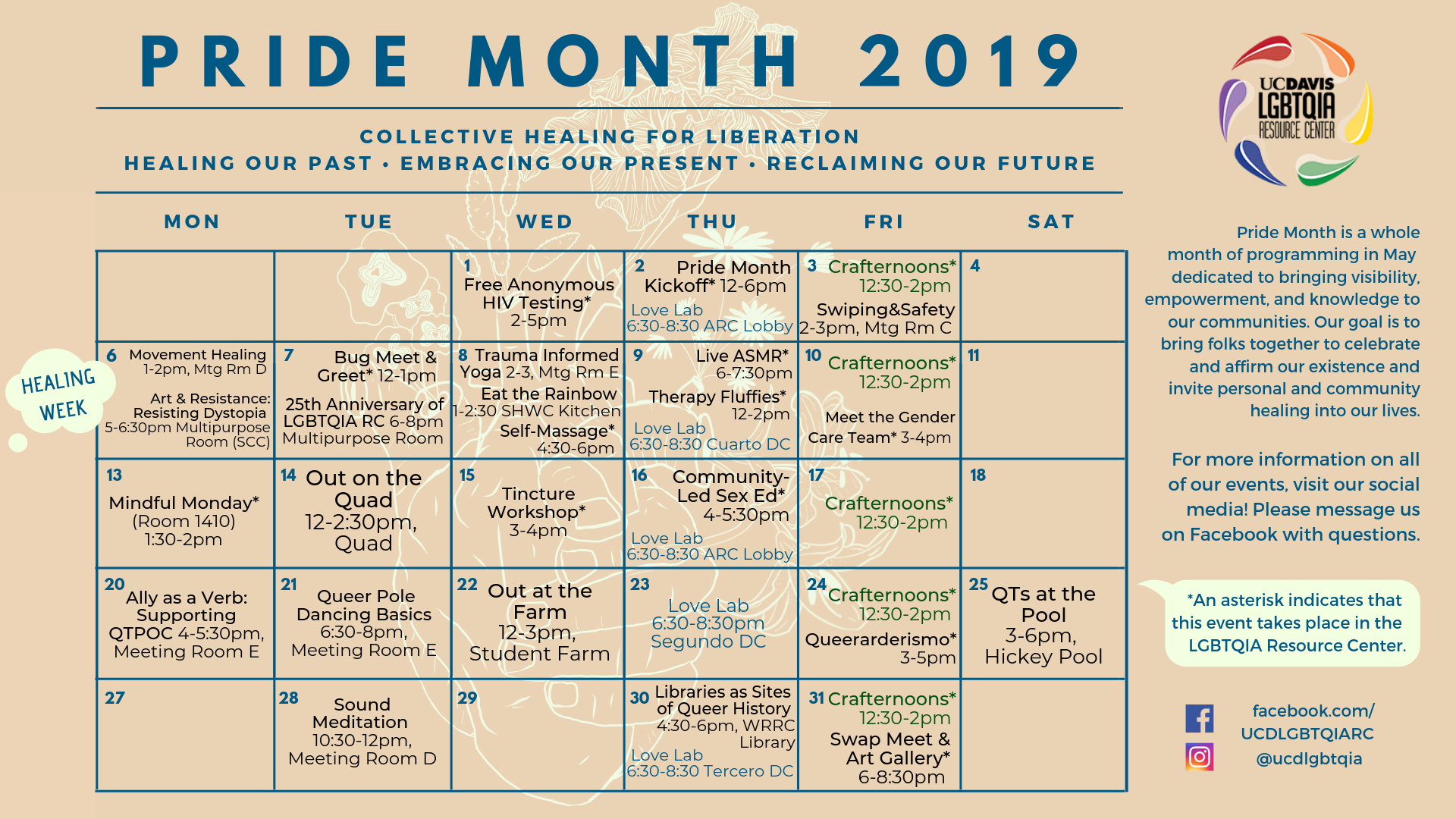 Gay Pride 2019 Calendar Pride Month | LGBTQIA Resource Center