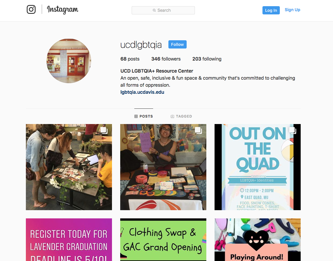 Screenshot of UCD LGBTQIA+ Resource Center Instagram Page