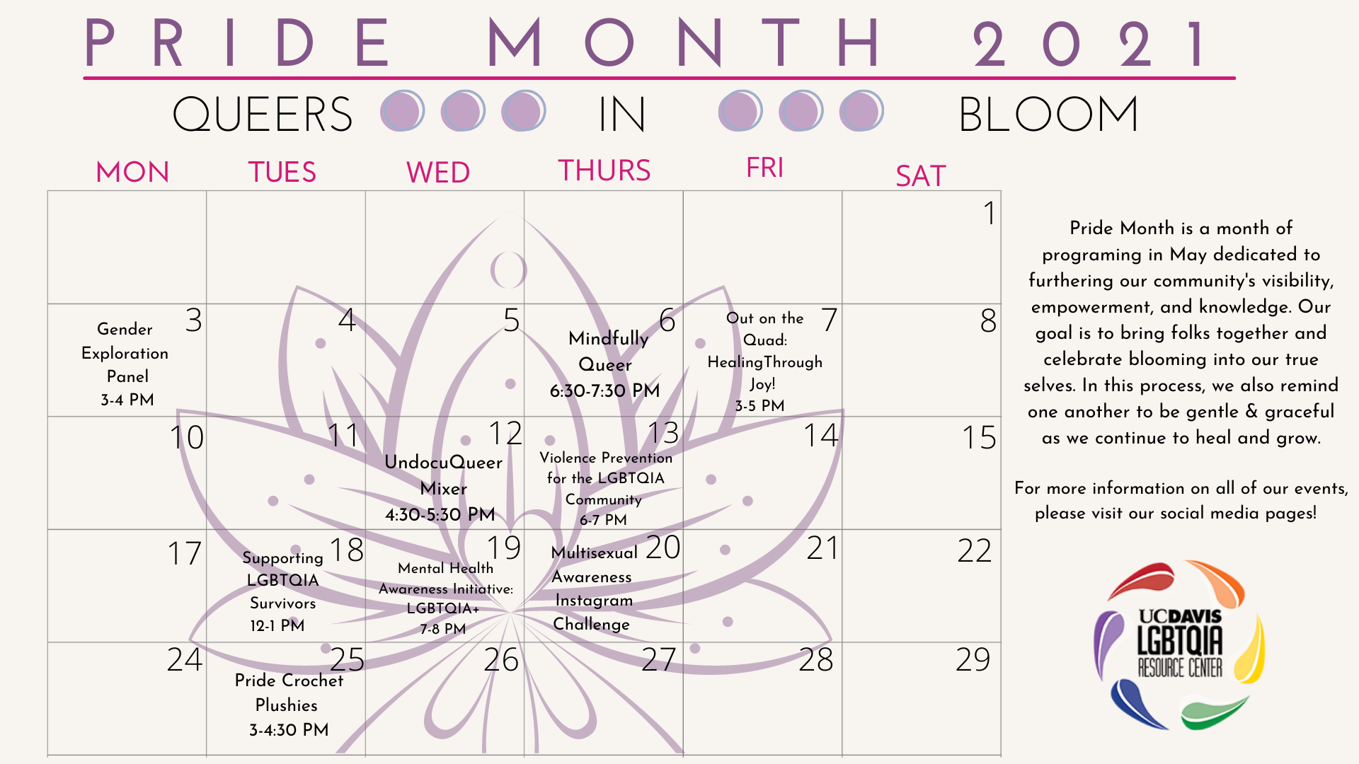 beige background calendar with a lotus inlaid in center. At the top next to an image of a moon cycle are the words: Pride Month 2021, Queers in Bloom.