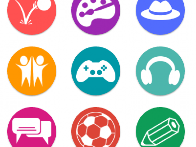 Icons with a ball, art easel, hat, people, games, headphones, chat bubbles, a soccer ball and a pencil
