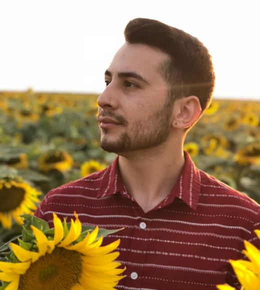 Angelo, standing in a field of sunflowers, they are facing to the left